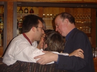 Group hug with cousin, Neil Comber, at his wedding, September 2005